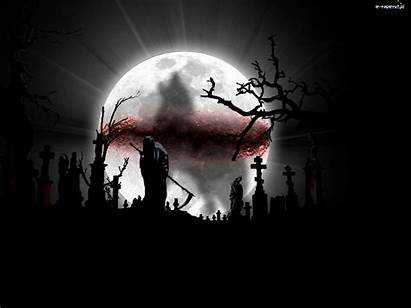 Creepy Cemetery Skull Gothic Graveyard Skeletons Moon