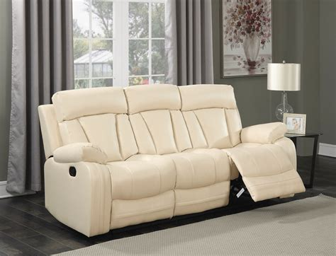 Loveseat With Ottoman by Kyson Modern Beige Bonded Leather Reclining Sofa With