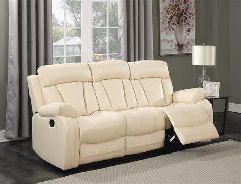 beige leather reclining sofa kyson modern beige bonded leather reclining sofa with