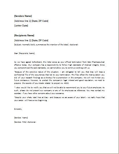 dismissal letter template letters  sample letters
