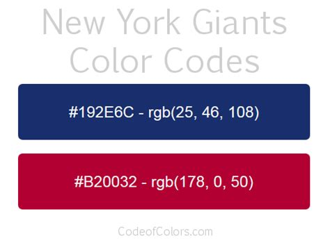 york giants colors hex  rgb color codes