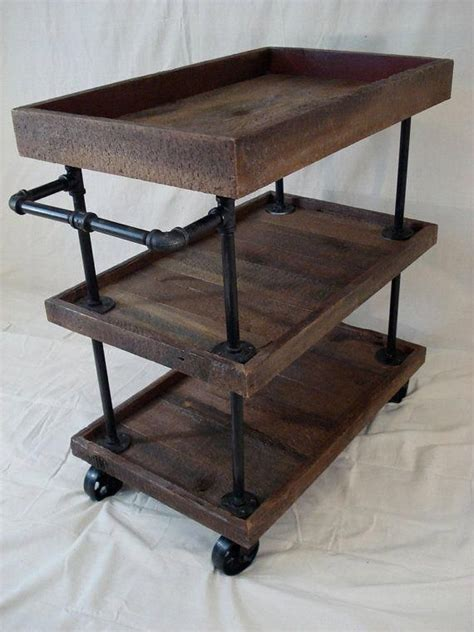 Kitchen Cart Pipe by Rustic Utility Cart Diy Pipe Furniture Home Decor