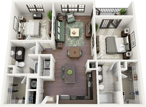 photos and inspiration house plans bedrooms 50 plans 3d d appartement avec 2 chambres