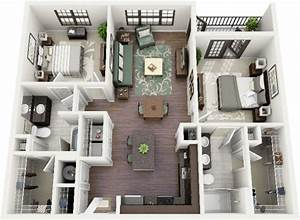 50 plans 3d d39appartement avec 2 chambres With realiser plan de maison 3 3d interior design hd