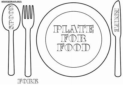 Plate Coloring Pages Fork Empty Dishes Colorings