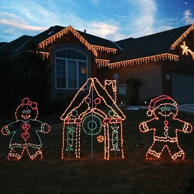 lighted outdoor gingerbread house christmas
