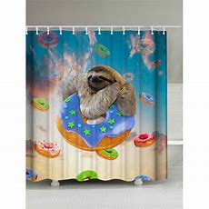 Cute Sloth And Donuts Waterproof Shower Curtain In