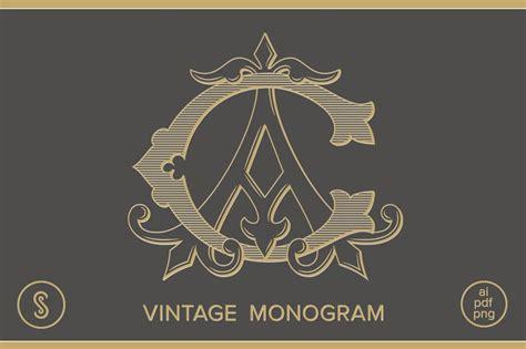ac monogram ca monogram illustrations creative market