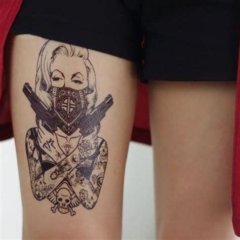 tatouage temporaire femme revolver  school kolawi