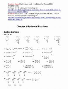 Solutions Manual For Business Math 11th Edition By Cleaves