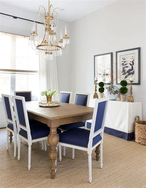 navy  white dining room chairs  wooden table