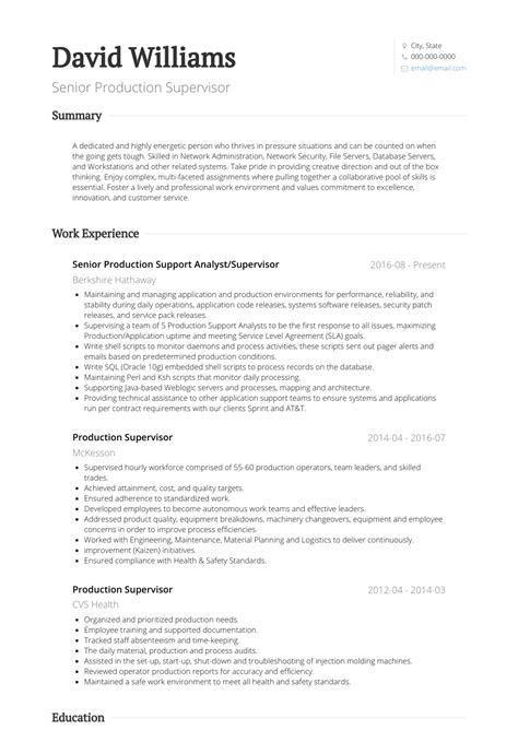 Key responsibilities of these experts are planning orders, implementing quality standards, developing production schedules. Production Supervisor - Resume Samples and Templates | VisualCV