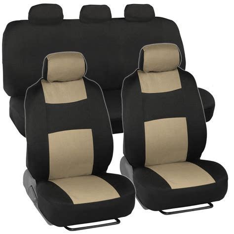 Cloth Car Seat Covers Blackbeige + Headrests Rear Bench