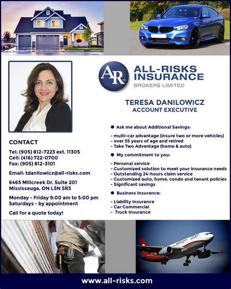 Insurance is a practice or arrangement by which a company provides a guarantee of compensation for specified loss, damage Teresa Danilowicz - All-Risks Insurance Brokers Ltd.