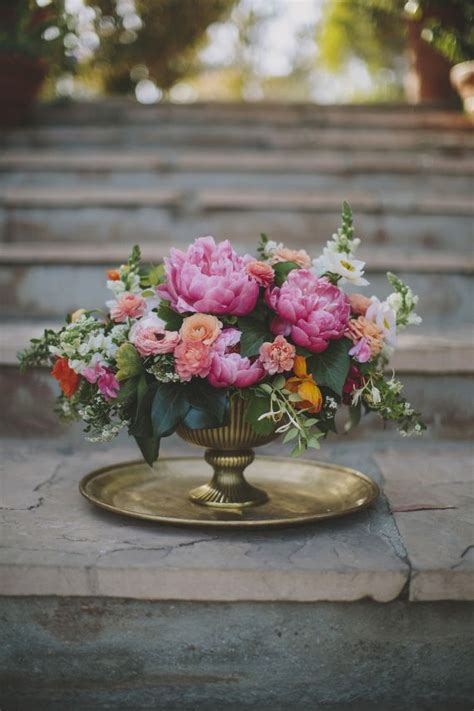 malibu beach wedding blooms peonies centerpiece