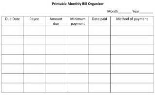 Free Monthly Bill Organizer Template
