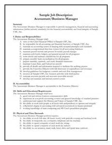 Accountant Description Resume by Best Photos Of Sles Of Descriptions Formats Sle Description Format Ceo