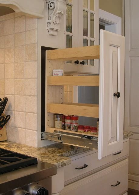 Spice Pull Out Rack by Pull Out Spice Rack Built Into Custom Wood Open