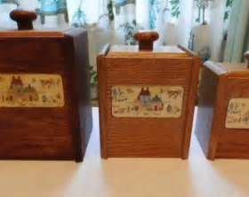 wooden canisters kitchen vintage wooden kitchen canisters tea and coffee set of 2