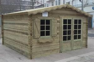 Abri de jardin traite autoclave de16 m en madriers 28 mm for Garage en bois autoclave