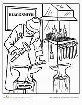 Blacksmith Coloring Education Worksheet Pages Blacksmithing Printable Printables Worksheets sketch template