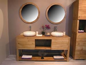 Meuble Salle De Bain Sur Pied Double Vasque : meuble salle de bain double vasque bois id maison pinterest double vasque meuble salle de ~ Teatrodelosmanantiales.com Idées de Décoration