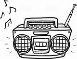 Radio Clipart Cassette Player Vector Dibujo Blanco Illustration Cartoon Radios Box Listening Negro Google Equipment Station Buscar Con Tape Audio sketch template