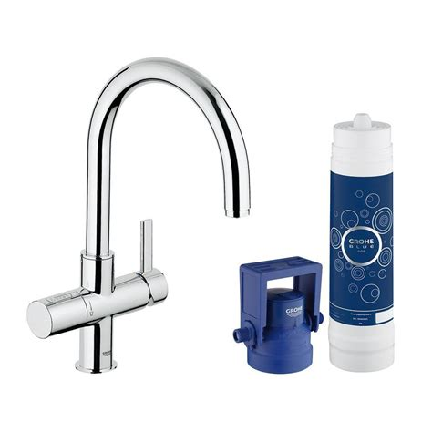 grohe blue alternative grohe blue 2 handle standard kitchen faucet in starlight chrome 31312001 the home depot