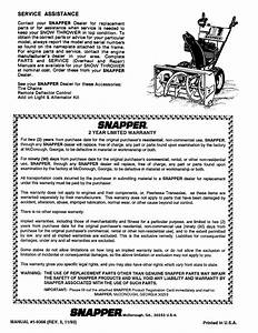 Page 8 Of Snapper Snow Blower 826 User Guide