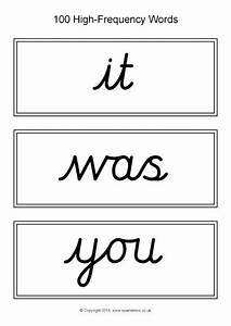 Word First Page 100 High Frequency Word Cards Cursive Black And White