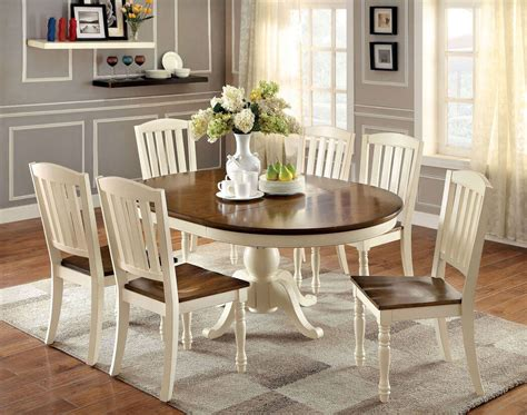 white and oak dining table set 7 piece harrisburg round to oval dining set in vintage