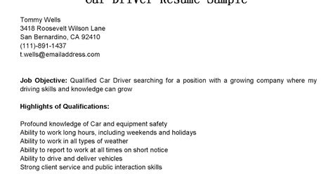 Car Driver Resume Exles by Driver Resumes Car Driver Resume Sle