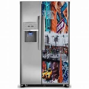 Frigo Americain Profondeur 50 Cm : sticker d co autocollante frigo am ricain new york 170x70 cm stickersmania ~ Melissatoandfro.com Idées de Décoration