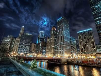 Chicago Wallpapers Desktop Night Cities Skyline Town