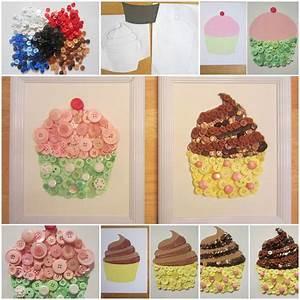 Diy, Cupcake, Button, Crafts
