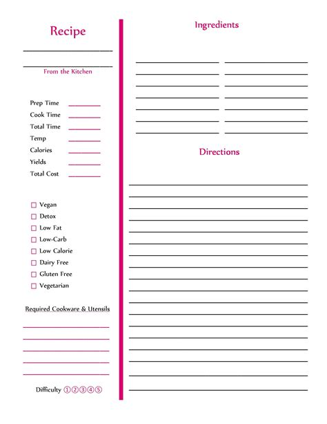 perfect cookbook templates recipe book recipe cards