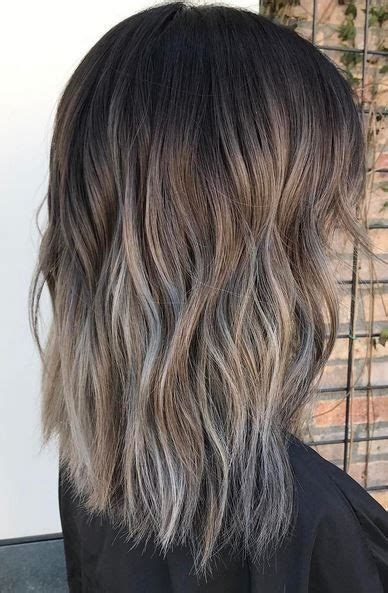 brunette hair color idea ash  silver melt hair