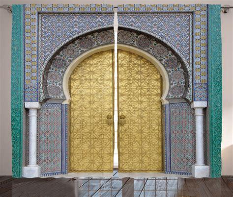 moroccan pattern curtain panels antique decor moroccan style door golden doorknob pattern
