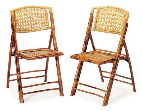 A Set Of Eight Bamboo And Rattan Folding Chairs, Late