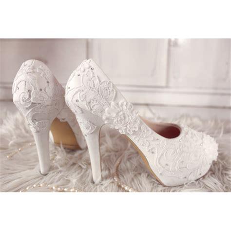 sepatu platform wedding brukat putih slightshop