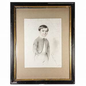 Exceptional Antique Pencil Drawing, Portrait of a Boy, in ...