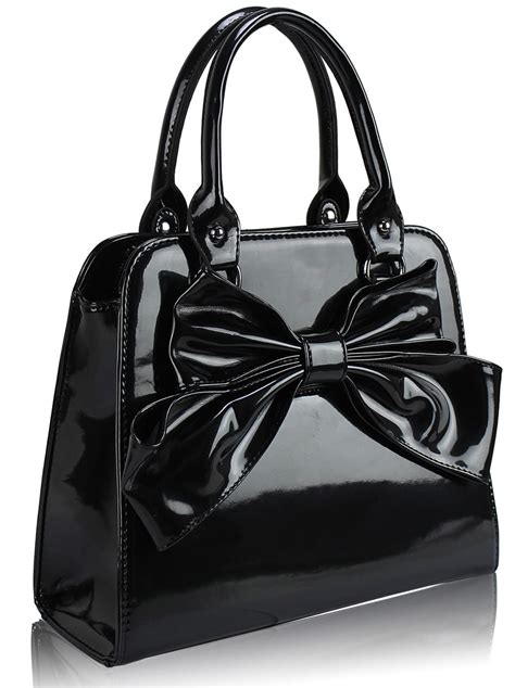 wholesale black patent bow tote bag