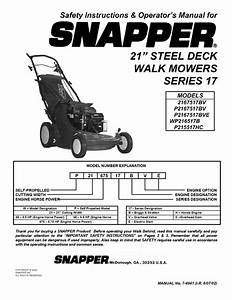 Snapper Lawn Mower P2167517bv User Guide