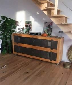 Meuble Bois Et Acier : meuble tv buffet bois metal industriel sur artisanale ~ Teatrodelosmanantiales.com Idées de Décoration