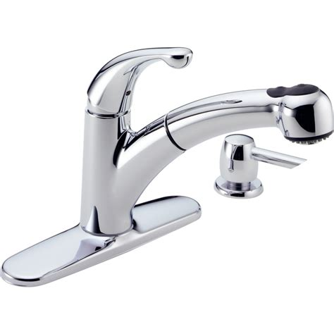 delta kitchen faucets shop delta palo chrome pull out kitchen faucet at lowes