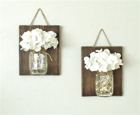 Lighted Rustic Hanging Mason Jar Sconce Wood Wall Decor