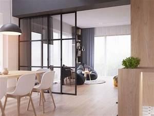 deco salon verriere cuisine salle a manger aux murs With deco cuisine avec meuble blanc salle a manger