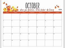 October 2018 Calendar Pdf Printable Template Free HD Images