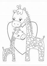 Giraffe Coloring Giraffes Printable Easy Cartoon Tulamama Malvorlagen Ausmalbilder Zum Heart Colorare Colouring Sheets Hugging Bucket Ausmalen Drucken Clipart Embroidery sketch template