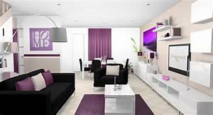 deco interieur pourpre sejour salle a manger cuisine With decoration interieur cuisine moderne